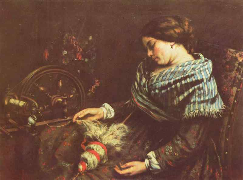 Gustave Courbet: Schlafende Spinnerin (1853) / Gustave Courbet: Sleeping Spinner (1853)
