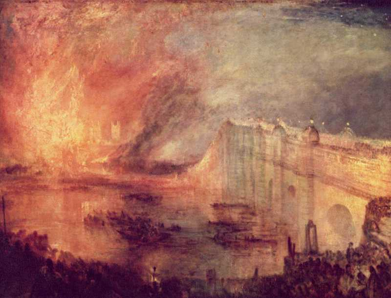 Joseph Mallord William Turner: Der Brand des Westminster Palaces (ca. 1834) / Joseph Mallord William Turner: The Burning of the Houses of Parliament (ca. 1834)