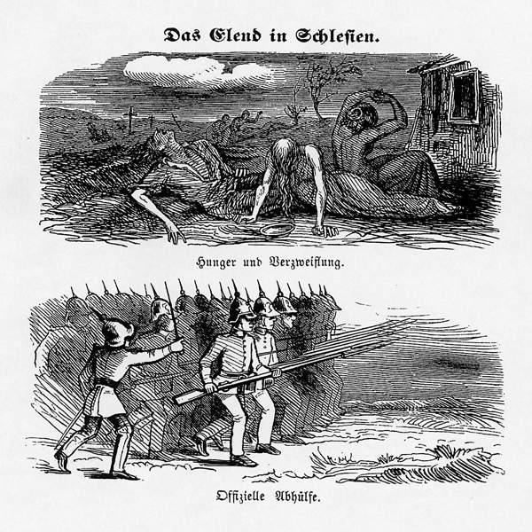 Politische Karikatur auf die Weberaufstände. Aus den Fliegenden Blättern 1848.