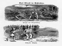 "Political cartoon on the weaver uprisings. From the ""Fliegende Blätter""  (Flying Leaves) 1848."